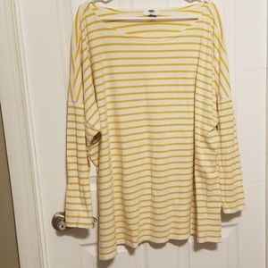 Old Navy Gold and White Striped Long Sleeve Top 3X